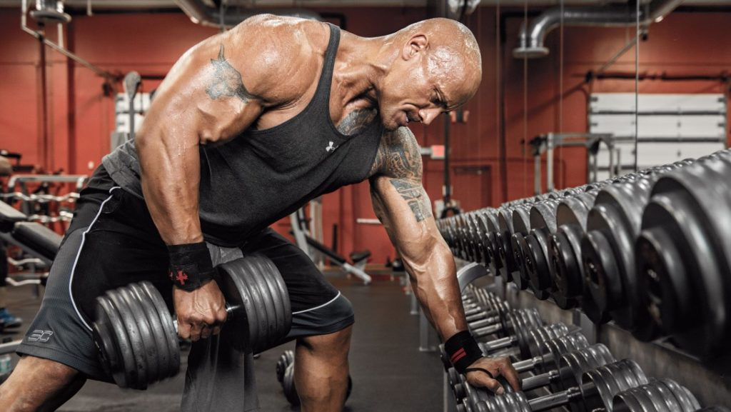 The-Rock-Dumbbell-Row